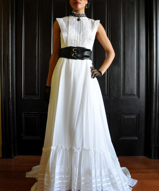 vintage wedding dress bridal gown inspiration from Etsy steampunk black accessories