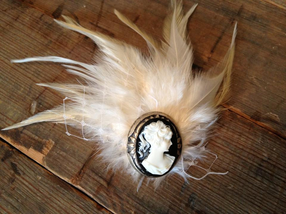 vintage wedding ideas cameo infused weddings from Etsy feather fascinator