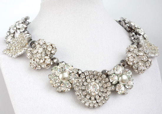 chunky wedding jewelry statement necklace rhinestones