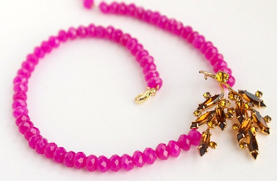 bright pink and amber statement necklace