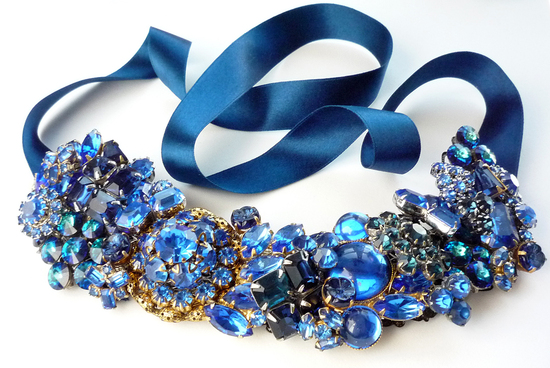 statement wedding jewelry bridal necklace Etsy handmade blue brooch