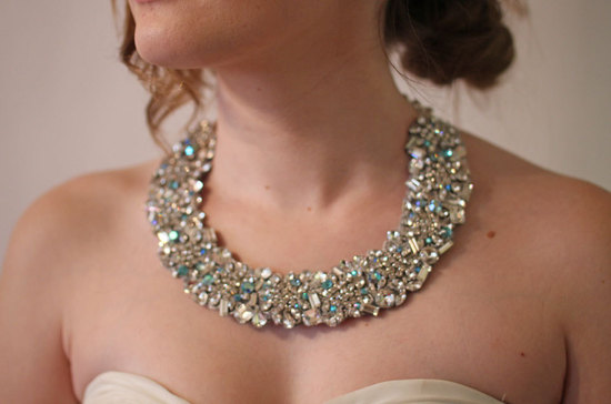 statement wedding jewelry bridal necklace Etsy handmade something blue stones