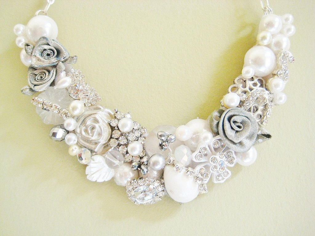 Statement wedding jewelry bridal necklace etsy handmade 9 mozeypictures Image collections