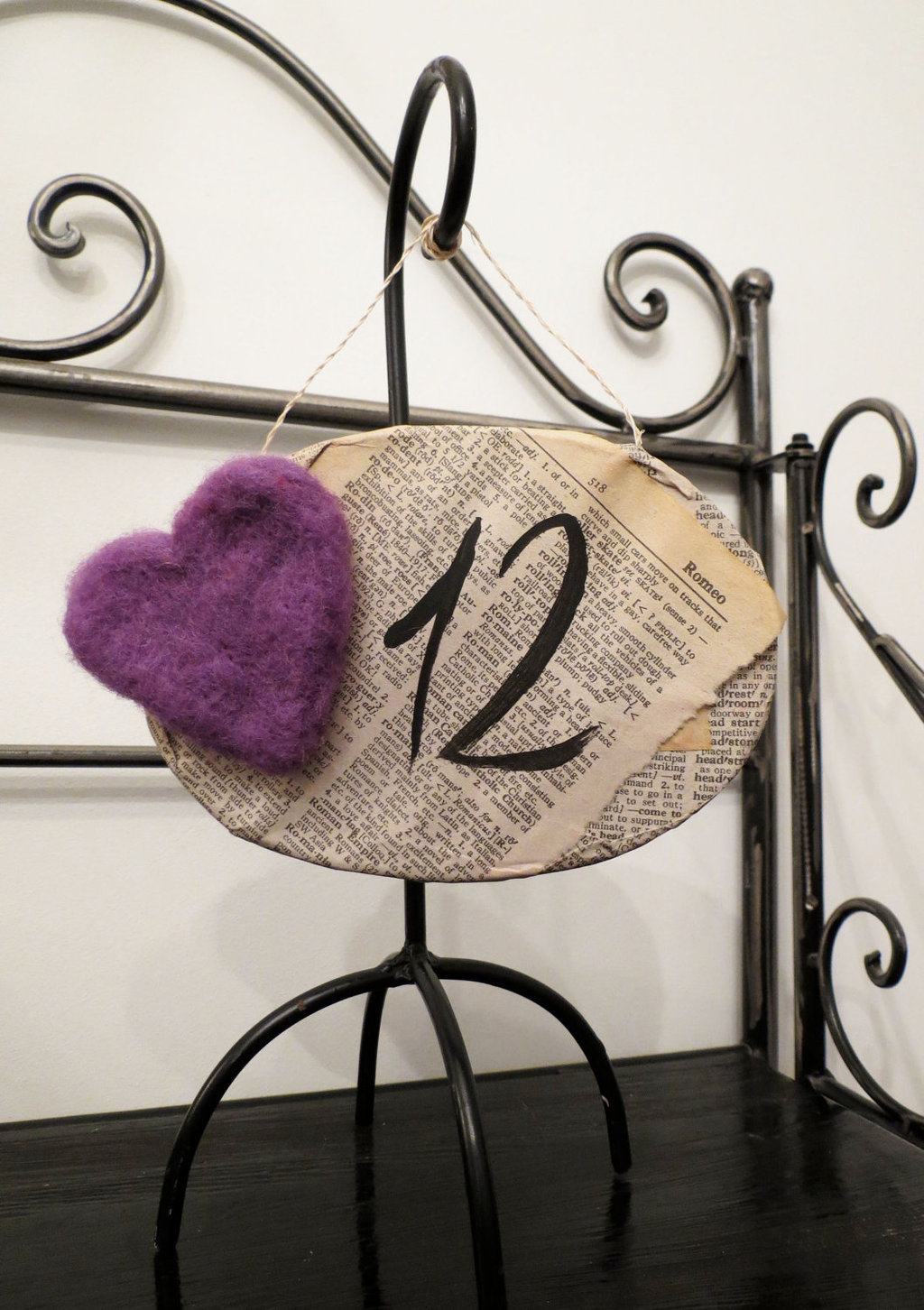 vintage inspired wedding table number purple heart