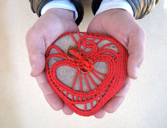 crocheted ring bearer pillow red heart