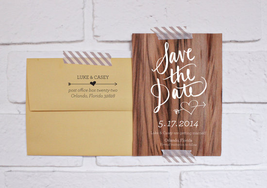 unique wedding save the date wood veneer with calligraphy