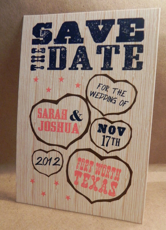 wood wedding invitation heart design