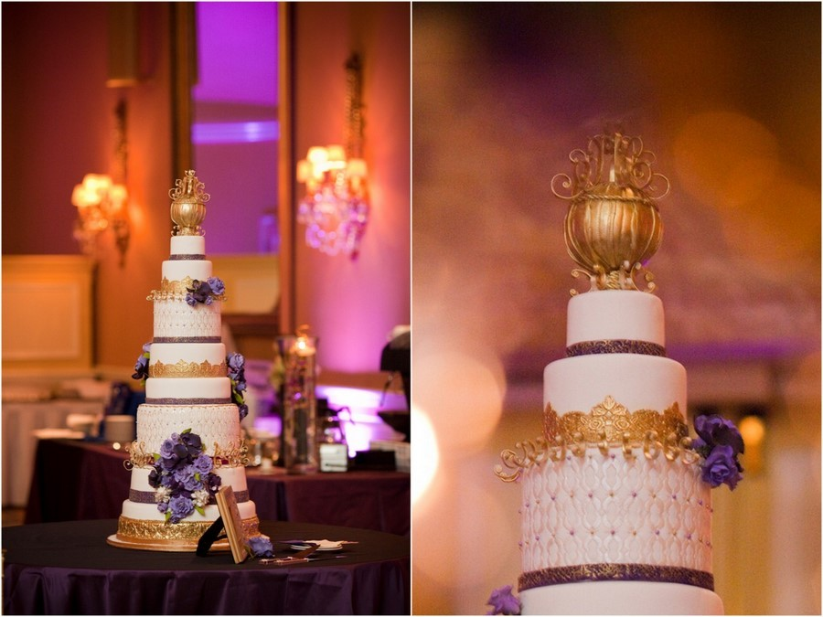 elegant gold purple wedding cake