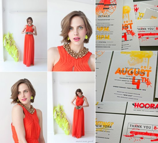 neon coral wedding inspiration with chic bridesmaid dress statement jewelry