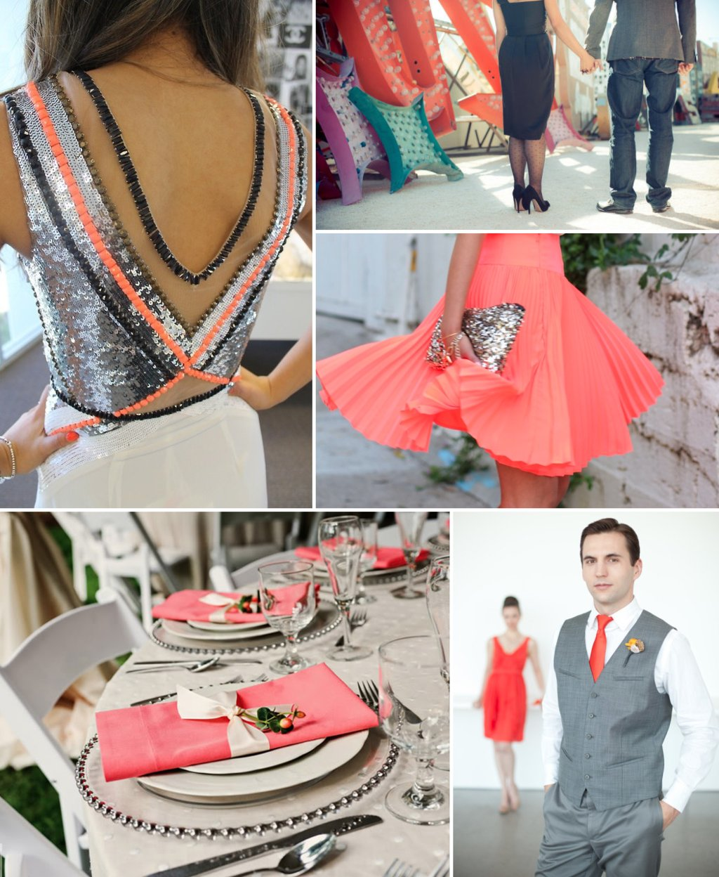 Neon-coral-wedding-inspiration-with-chic-black-gray-silver.full