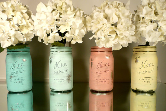 Peaches and cream wedding color palette romantic weddings painted mason jars.