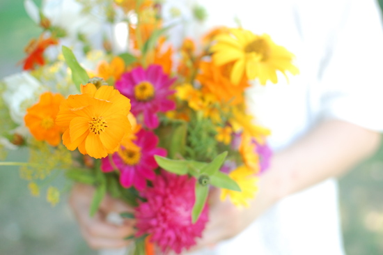 wedding color inspiration for brides from Etsy weddings Marigold pink orange yellow bouquet