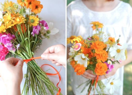 wedding color inspiration for brides from Etsy weddings Marigold DIY bouquet