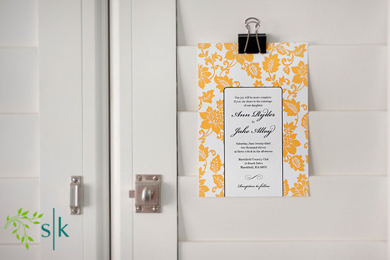 wedding color inspiration for brides from Etsy weddings Marigold floral invitations
