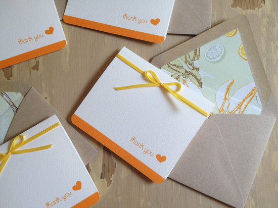 wedding color inspiration for brides from Etsy weddings Marigold thank yous