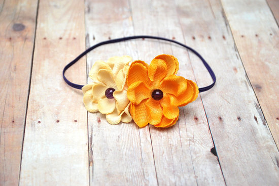 wedding color inspiration for brides from Etsy weddings Marigold double bloom headband