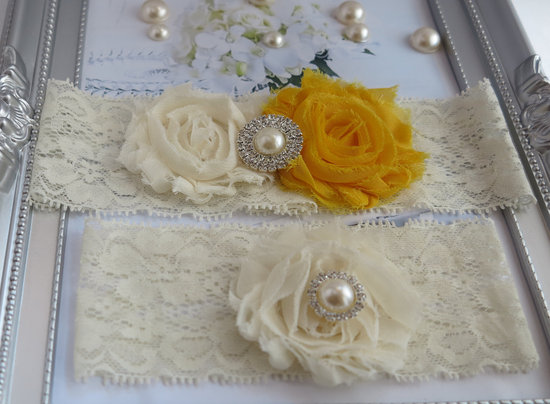 wedding color inspiration for brides from Etsy weddings Marigold bridal garter
