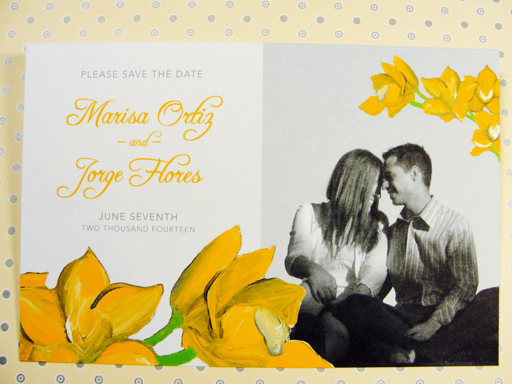wedding color inspiration for brides from Etsy weddings Marigold photo save the date