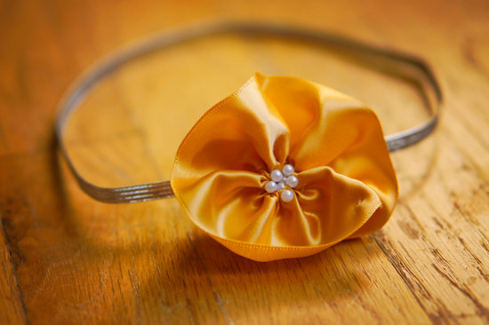 wedding color inspiration for brides from Etsy weddings Marigold bridal headband 2
