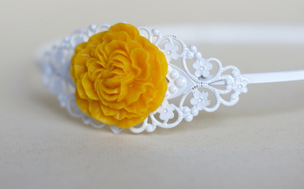 wedding color inspiration for brides from Etsy weddings Marigold headband