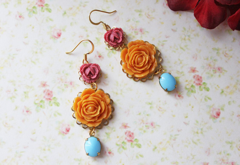marigold bridal earrings with something blue stones