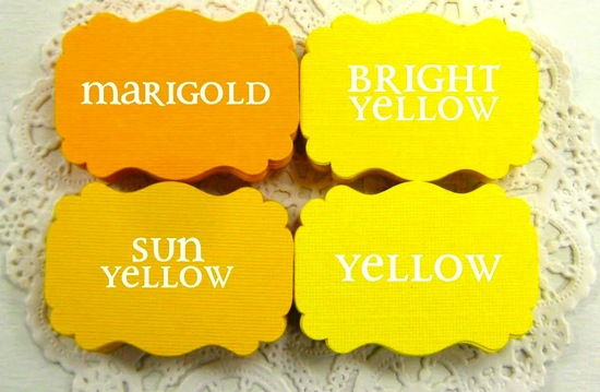 wedding color inspiration for brides from Etsy weddings Marigold escort cards