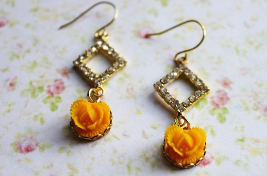 wedding color inspiration for brides from Etsy weddings Marigold earrings