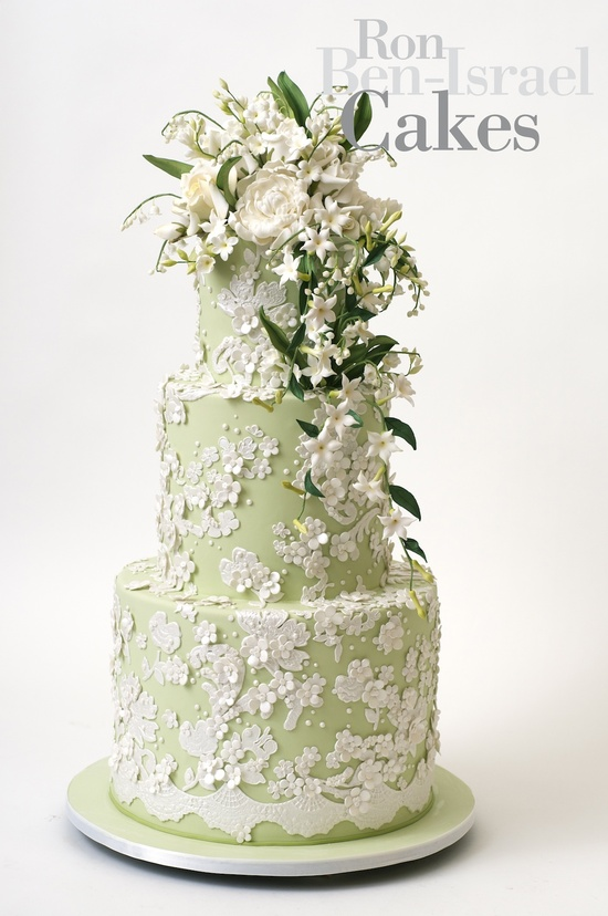 wedding cake inspiration Ron Ben Isreal wedding cakes pale green ivory floral