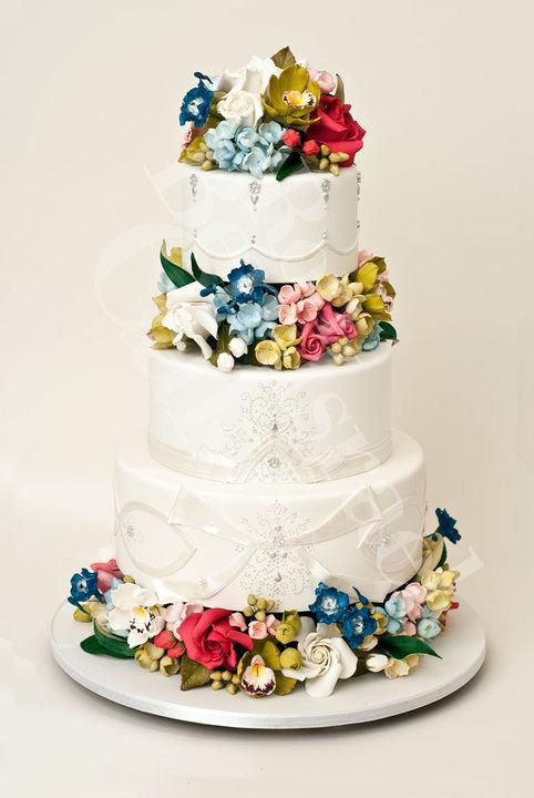 photo of wedding cake inspiration Ron Ben Isreal wedding cakes white silver spring flowers