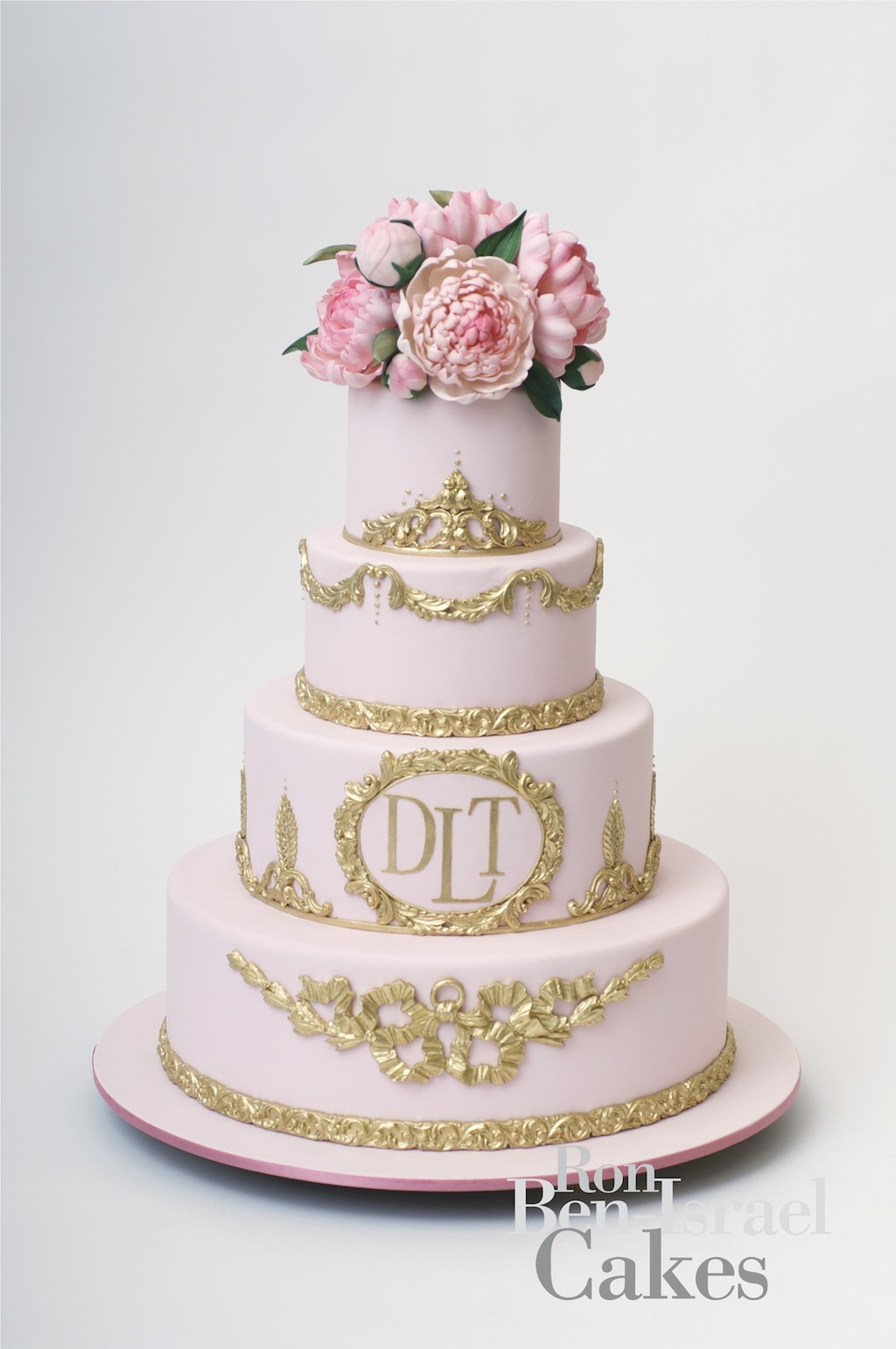 cake inspiration Ron Ben Isreal wedding cakes light pink gold