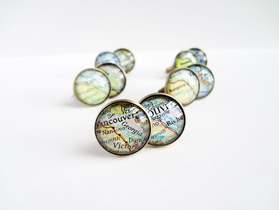 map wedding details groom groomsmen cuff links