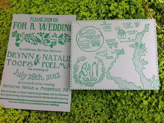 map inspired weddings travel themed wedding invitations and paper from Etsy green white letterpress