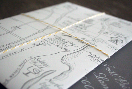 map inspired weddings travel themed wedding invitations and paper from Etsy ivory gray yellow elegan