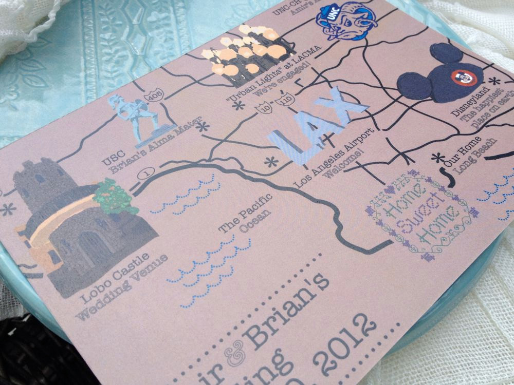 Wedding Invitations Disney: Map Inspired Weddings Travel Themed Wedding Invitations