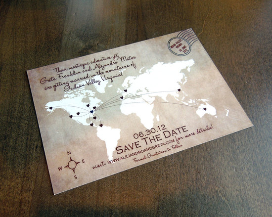 map inspired weddings travel themed wedding invitations and paper from Etsy postcard save the date