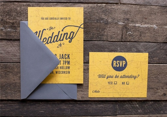 map inspired weddings travel themed wedding invitations and paper from Etsy marigold gray