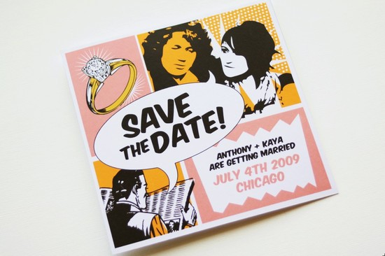 retro inspired wedding Pop art save the date