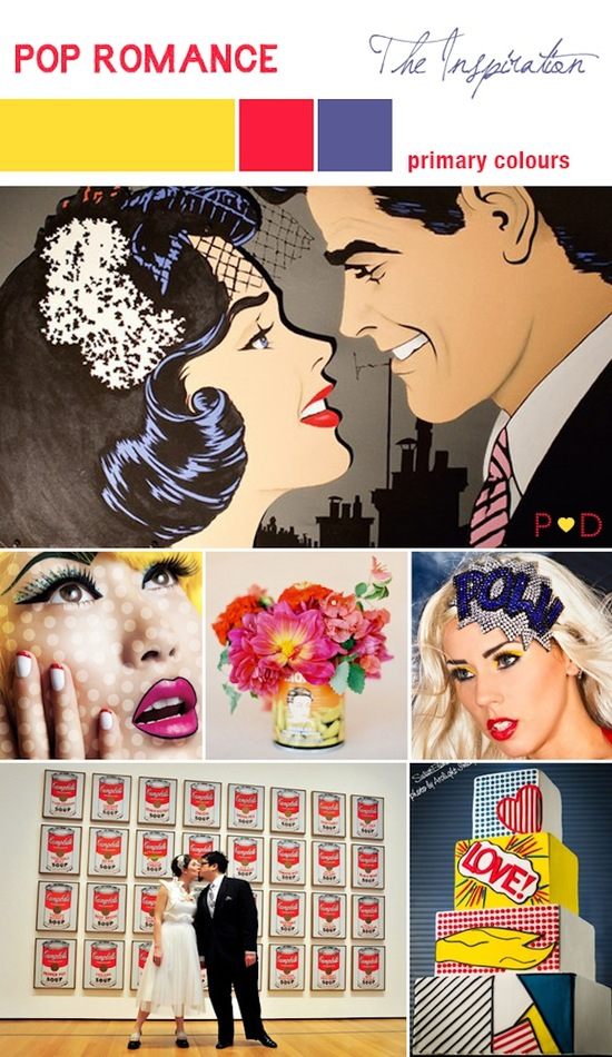 photo of creative wedding themes inspired by art Roy Lichtenstein retro weddings primary colors