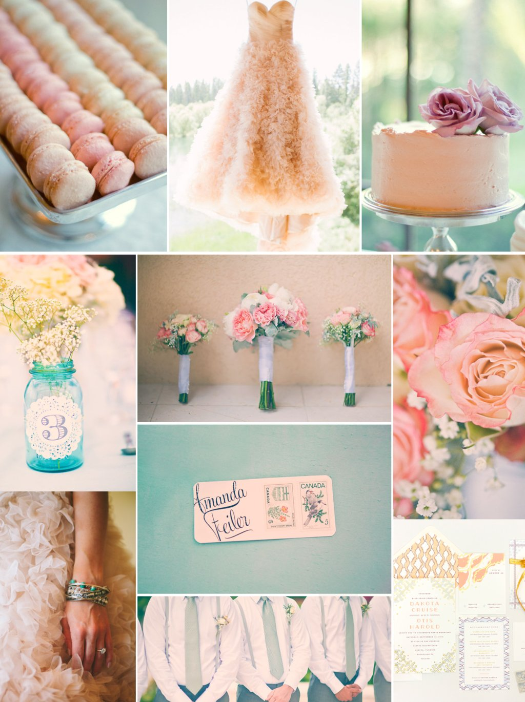 Romantic wedding color palette peach, pink lilac and sage.