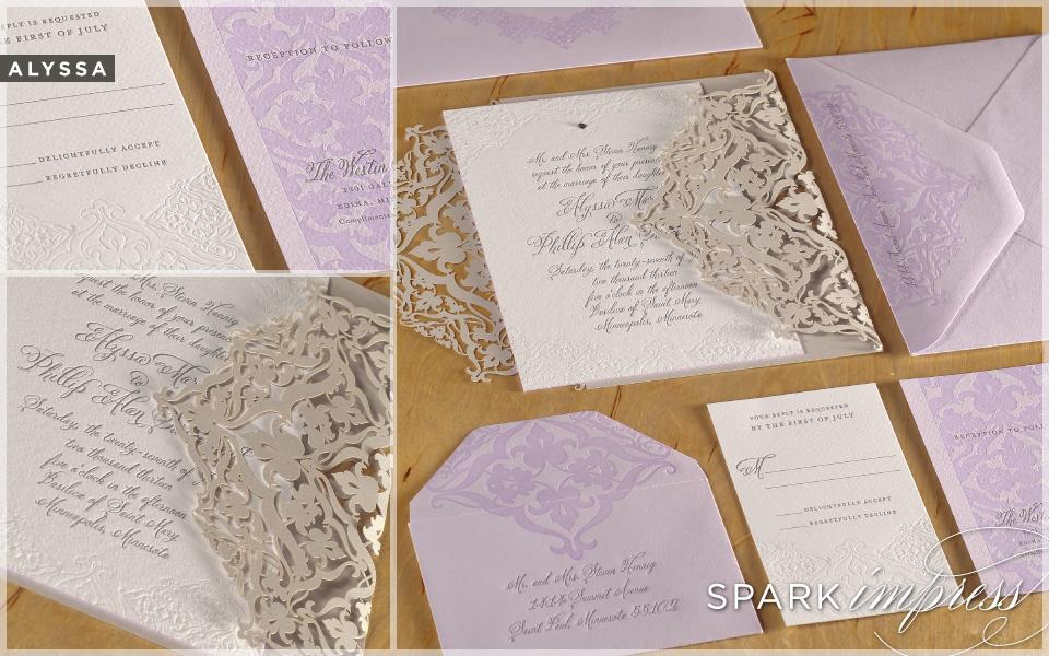 Unique wedding invitations letterpress wedding stationery lilac beige