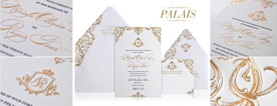 elegant gold white wedding invitations