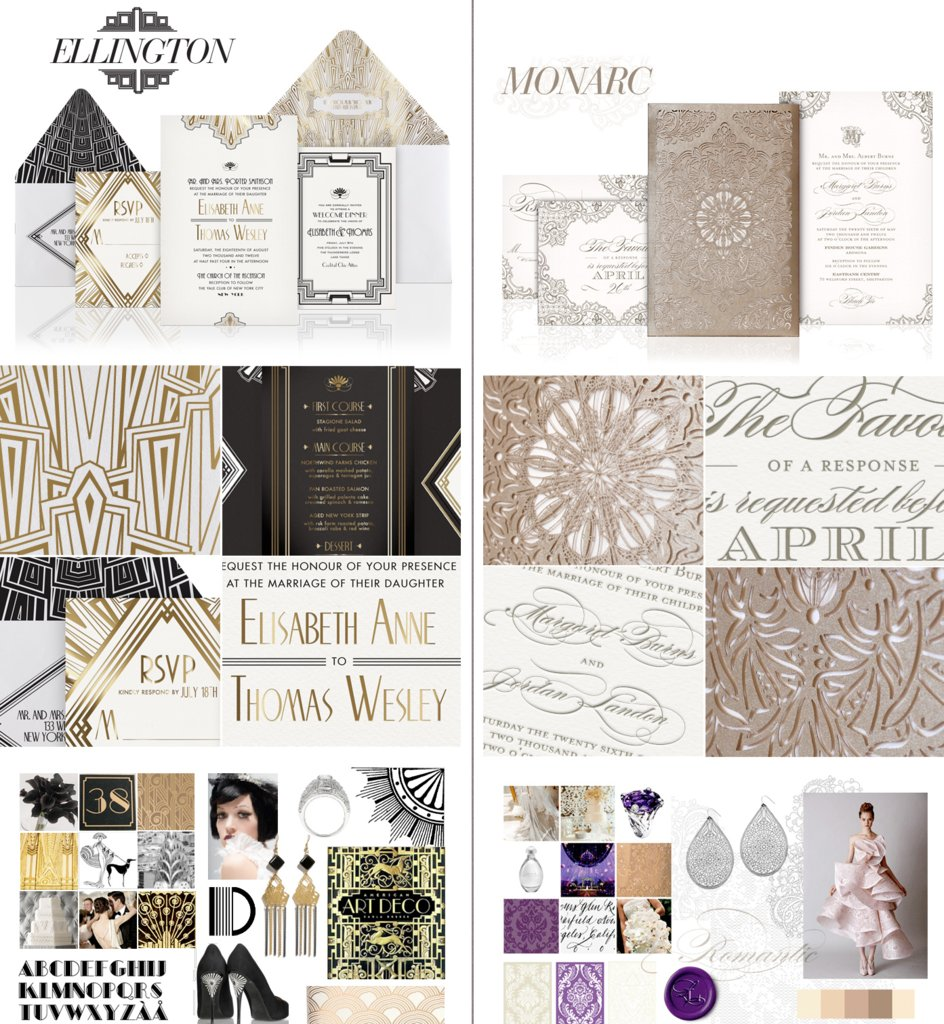 photo of elegant gold white wedding invitations