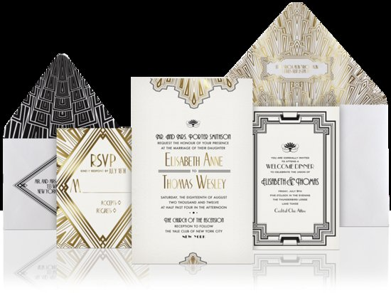 unique wedding invitations gold black white