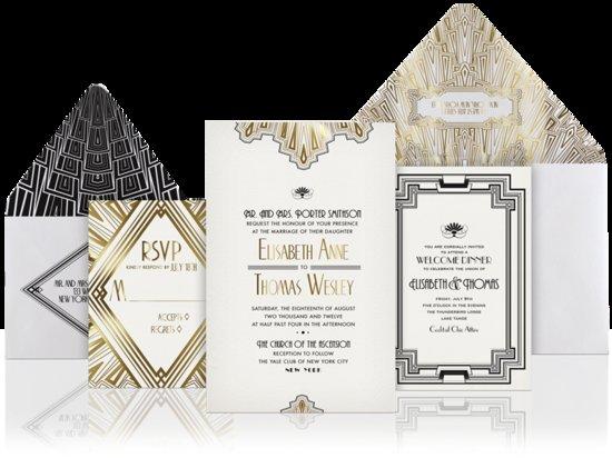 photo of unique wedding invitations gold black white