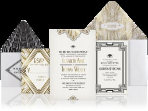 photo of unique wedding invitations gold black white