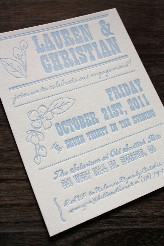 photo of unique wedding invitations letterpress stationery for brides grooms light blue ivory