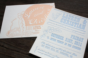 photo of unique wedding invitations letterpress stationery for brides grooms light blue blush ivory