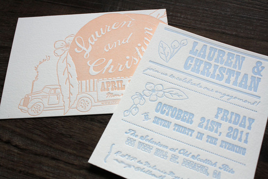 unique wedding invitations letterpress stationery for brides grooms light blue blush ivory