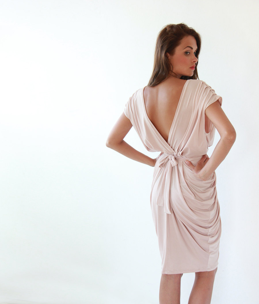 Elegant Bridesmaid Dress Draped Blush Pink