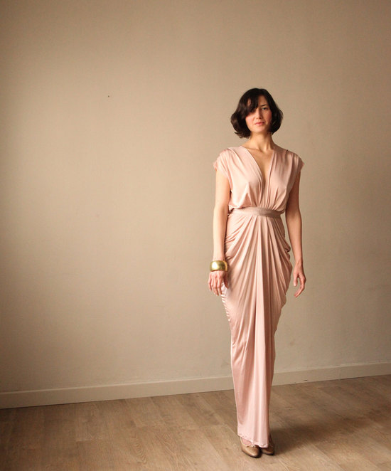 beautiful bridesmaid dresses handmade weddings from Etsy blush long